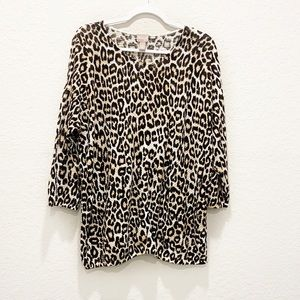 Chico's Animal Print Pullover Knit Sweater Sz XL